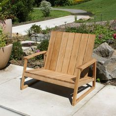 The Aspen bench expands our popular Aspen Adirondack chair into a cozy seat for two. Crafted with wide, robust timbers and sheared edges, the Aspen bench easily blends into any modern or contemporary setting. Outdoor Lounge, Outdoor Chairs, Outdoor Decor, Teak Outdoor Furniture, Furniture Ideas, Aspen, Contemporary, Modern, Bench