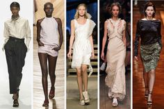 From left to right: Margaret Howell, Bottega Veneta, Givenchy, Alexander McQueen, and Nina Ricci