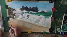 How to paint blue sea, waves and  beach. Learn how to paint sea birds