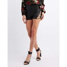 Charlotte Russe Faux Leather Caged Shorts ($18) ❤ liked on Polyvore featuring shorts, black, sexy shorts, high rise shorts, high-waisted shorts, high waisted faux leather shorts and charlotte russe