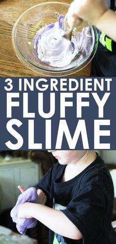 Learn how to make fluffy slime with this super easy fluffy slime recipe! Just 3 ingredients and no borax or contact solution! #FluffySlime #Slime #SlimeRecipe #HowToMakeSlime #KidsActivities #ForKids