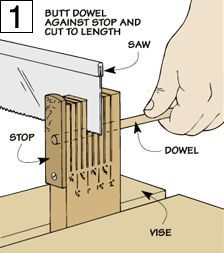 "Dowel Cutting Jig Here's a jig that will make ""short work"" of accurately cutting dowels into small pieces with a hand saw."