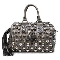 ... Studded Barrel Bag w beautiful Detail w leather and top handles w additional  Removable Shoulder Strap by Jersey Bling  Handbags  Amazon.com 8d0bcf93ee685