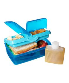 Take a look at this Blue 50-Oz. Slimline Quaddie Lunch Box & Water Bottle by Sistema on #zulily today!
