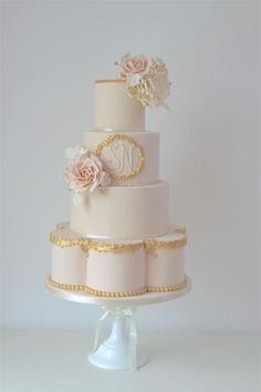 Gold trimmed wedding cake