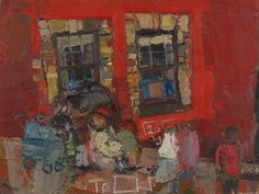 Joan Eardley – The Red Tenement No. Oil on canvas Naive, Glasgow School Of Art, Popular Artists, People Art, Artistic Photography, Types Of Art, Cool Art, Original Art, Sketches