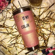 LOVE THIS! (But $70??)  Favorite Color Rose Gold Yeti / Glitter by AbbiSouthernDesigns
