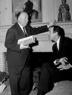 Alfred Hitchcock with Henry Fonda on the set of The Wrong Man (1957)