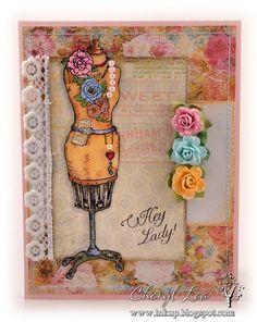 Vintage Birthday Card using Flourishes Feminine Charm stamps