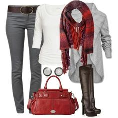 casual outfit, chambray shirt, stripes, skirt, patterned tights, scarf, boots - Click image to find more Women's Fashion Pinterest pins