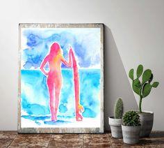 Watercolour print Surfer Girl Ocean Art by CraftyCowDesign
