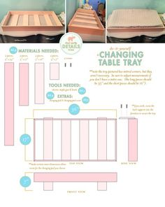 DIY changing table tray to hold a changing pad and set on top of a dresser. No need to buy a $200 changing table!