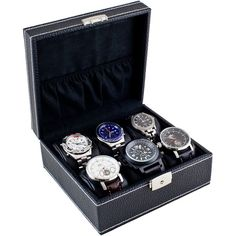 Total Air X-Stream Caddy Bay Collection Compact Black Six Watch Case... (285 HRK) ❤ liked on Polyvore featuring jewelry, watches, black, unisex jewelry, wooden jewelry, unisex watches, wooden watches and wood jewelry