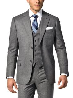 Charcoal new luxury flannel suit from J. Hilburn