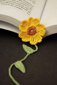 Crochet Bookmark, Yellow Primrose