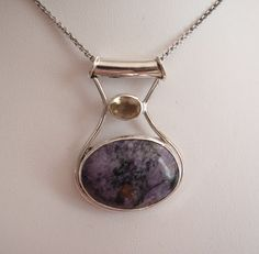 Charoite Slide Necklace with Sunstone Sterling Silver Purple Yellow Vintage OT0121 #charoite #sunstone #sterlingsilver #slidependant #vintagenecklace