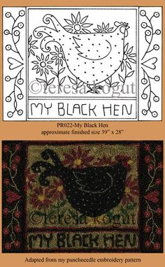 ♥ Chicken Hooked Rug pattern