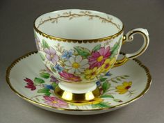 Tuscan Fine Bone China Flower Garden Teacup and Saucer Set from England - Tiny and Beautiful