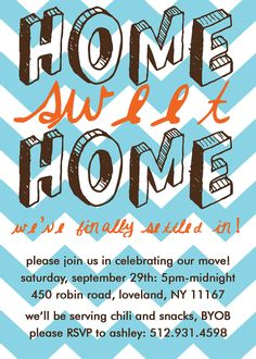 """[ free printable ] Love this """"home sweet home - we've finally settled in!"""" diy Housewarming party Invitations Cards - several designs and colors!"""