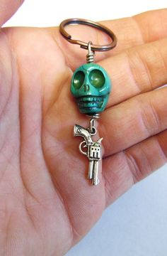 Day Of The Dead Keychain Keyring Sugar Skull by sweetie2sweetie