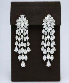 Long Diamond Earrings, Diamond Jewelry, Silver Jewelry, Gem Diamonds, White Diamonds, Traditional Earrings, Chandelier Earrings, Nimrat Khaira, Gold Tiara