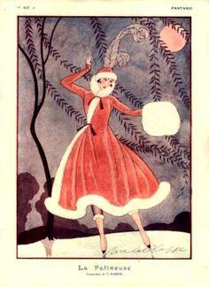 Christmas Fantasio, Vintage 1915 Christmas, Art Deco Barbier Clive, Art Deco Fashion, George Barber,