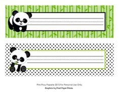 These sweet name plates are great for a panda theme classroom.   They measure 10 inches wide by 3 inches tall. Print onto cardstock, write students' names and laminate for sturdiness. File is not editable.  File includes two 8 1/2 x 11 sheets. Each sheet contains 2 different name tags.