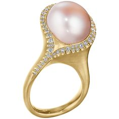 Naomi Sarna Pink Pearl Diamond Gold Ring | From a unique collection of vintage fashion rings at https://www.1stdibs.com/jewelry/rings/fashion-rings/