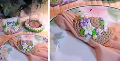 Sculpey III Spring Napkin Ring, Place Card Holder, and Candy Dish Coaster Sculpey Clay, Polymer Clay Figures, Polymer Clay Projects, Polymer Clay Creations, Clay Tutorials, Clay Charms, Cold Porcelain, Candy Dishes, Clay Art