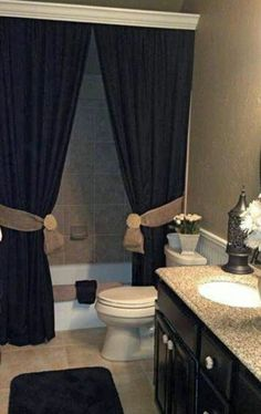 Love this bathroom design ! Curtains used as shower curtains