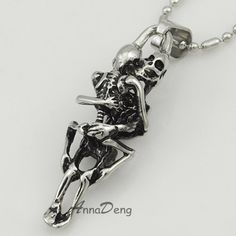 fashion stainless steel hugging double skeleton skull pendant cross necklace link chain for men jewelry AP123