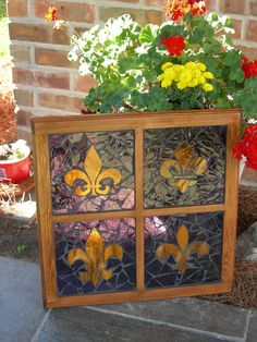 Purple and Gold Fleur De Leis Stained Glass Mosaic Window