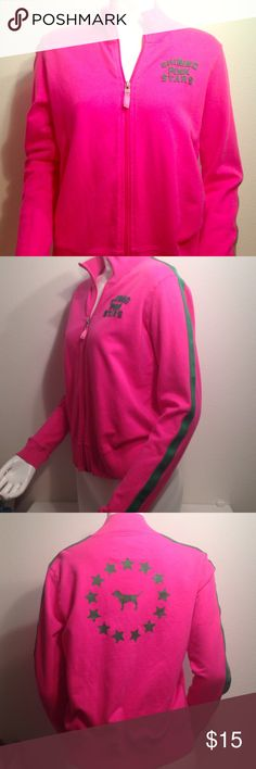Victoria's Secret pink shining pink stars zip up Super cute Victoria's Secret PINK shining pink stars zip up track jacket. Excellent condition size small. Candy pink with green stripes and writing. PINK Victoria's Secret Jackets & Coats
