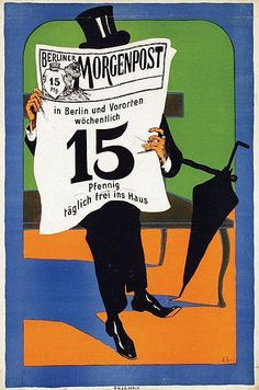 Poster - Berliner Morgenpost - 47x69,5, 1904 by Edmund Edel (1863-1939)