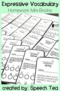 Expressive Vocabulary Homework perfect for carry-over! Use these for speech therapy, special education, early intervention, and preschool settings! Vocabulary ID and naming for a variety of categories. Great for parents!