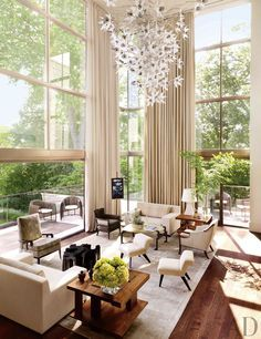 Huge floor to ceiling windows - amazing. (A Contemporary Southern Renovation, Architectural Digest)