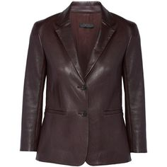 The RowNolbon Bonded Stretch-leather Blazer (€2.640) ❤ liked on Polyvore featuring outerwear, jackets, blazers, merlot, genuine leather jackets, slim blazer jacket, blazer jacket, leather jackets and turtleneck top