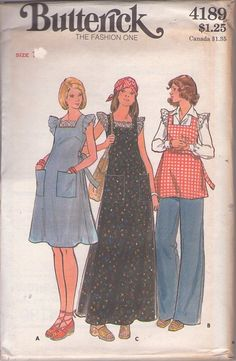MOMSPatterns Vintage Sewing Patterns - Butterick 4189 Vintage 70's Sewing Pattern HIP Eyelet Ruffled Sleeve Pinafore Apron Style Tunic Top, Dress, Huge Pockets Maxi Gown & Maternity Pants Size 10
