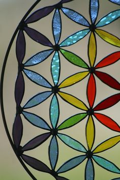 Stained glass Suncatcher Flower of life mandala Yoga by Mownart, $140.00