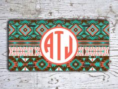 Monogrammed gift front license plate  Aztec by ToGildTheLily, $15.99