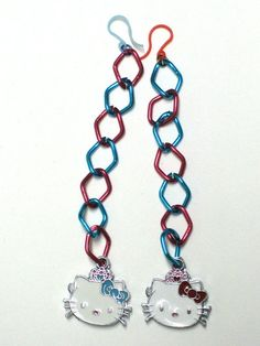 Red & Turquoise Hello Kitty Enammelled Charm Earrings with Aluminum Chain & Hypoallergenic Plastic Earwires - JnE