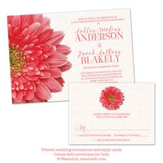 Coral Gerber Daisy and White Lace Wedding Invitation and RSVP reply card by wasootch