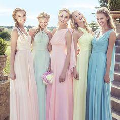 Multi-Wear Convertible Vestido de dama de Honor Vestidos de Rosa Y Púrpura Vestidos de Fiesta Por Encargo Vestido de Novia Dama de Honor a Parte