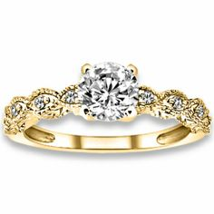 14k Yellow Gold Natural I J Color, SI Clarity, Diamonds Engagement Rings