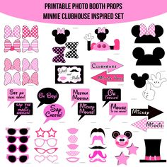 Instant Download Minnie Mouse Clubhouse Inspired Printable Photo Booth Prop Set — Amanda Keyt DIY Photo Booth Props & More! Minnie Mouse Decorations, Minnie Mouse Theme Party, Minnie Mouse 1st Birthday, Minnie Mouse Pink, 2nd Birthday, Mickey Mouse Works, Mickey Ears, Diy Photo Booth Props, Photobooth Props Printable