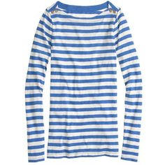 J.Crew Painter button boatneck tee in stripe ($30) ❤ liked on Polyvore featuring tops, t-shirts, shirts, blue, j.crew, tees, stripe t shirt, tee-shirt, t shirts and polish t shirts