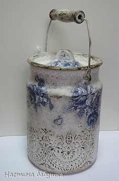 Декупаж молочного бидона: мастер класс по декорированию