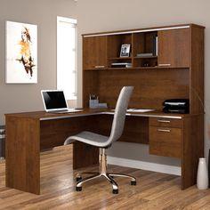 Bestar Flare L-shaped desk in Tuscany Brown