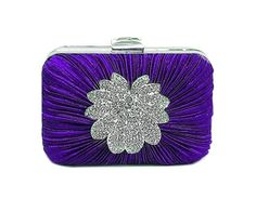 PURPLE HARD-BACK BOX CLUTCH BAG WITH DIAMANTE DESIGN, £11.99