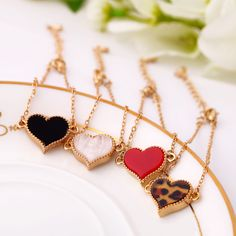 Vintage Cute Gold Chain Heart Leaf Clover Butterfly Bracelet